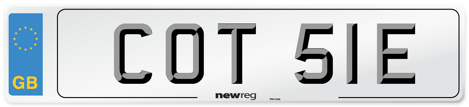 COT 51E Number Plate from New Reg