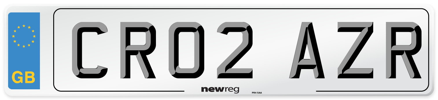 CR02 AZR Number Plate from New Reg