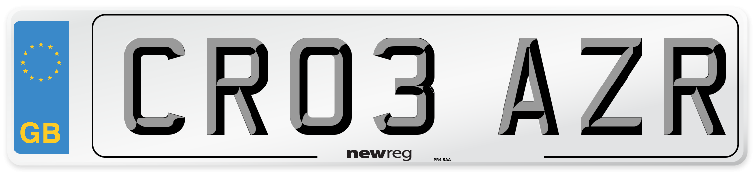 CR03 AZR Number Plate from New Reg