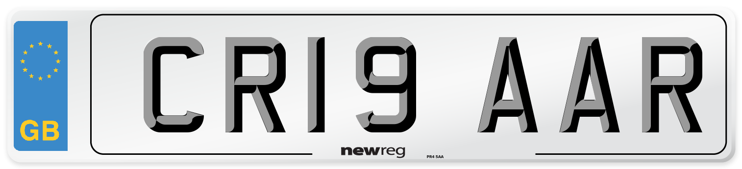 CR19 AAR Number Plate from New Reg