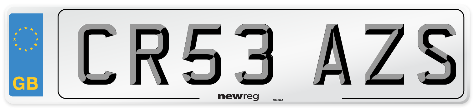 CR53 AZS Number Plate from New Reg