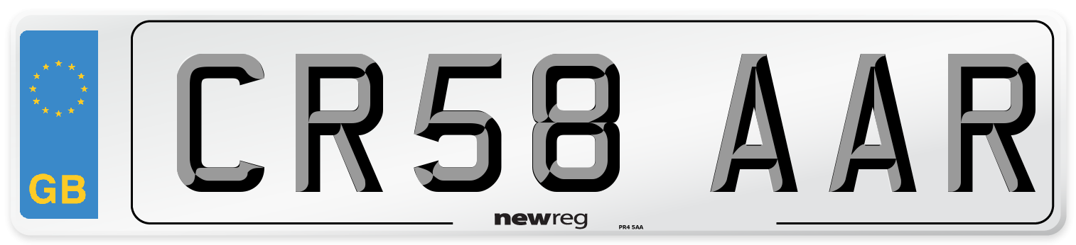 CR58 AAR Number Plate from New Reg