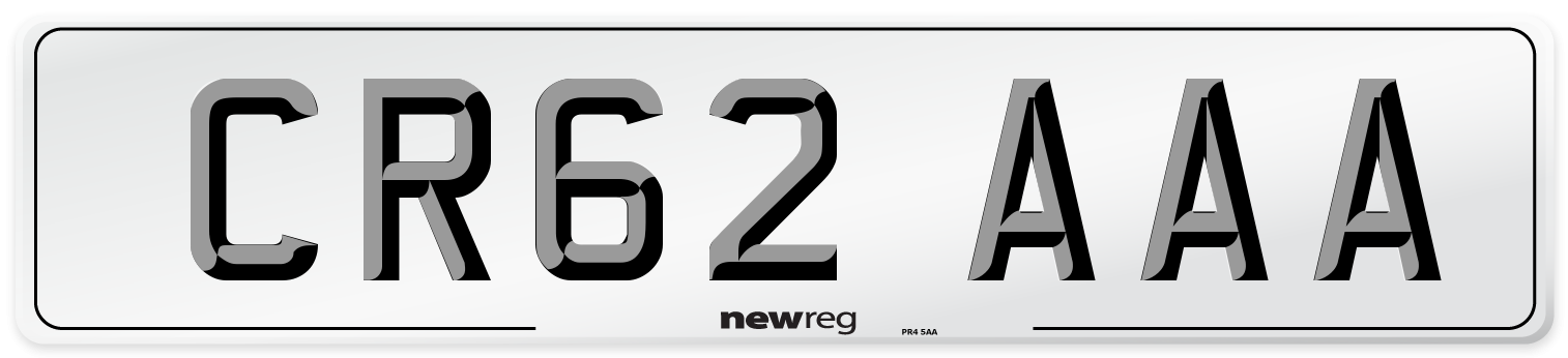CR62 AAA Number Plate from New Reg