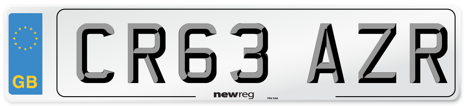 CR63 AZR Number Plate from New Reg