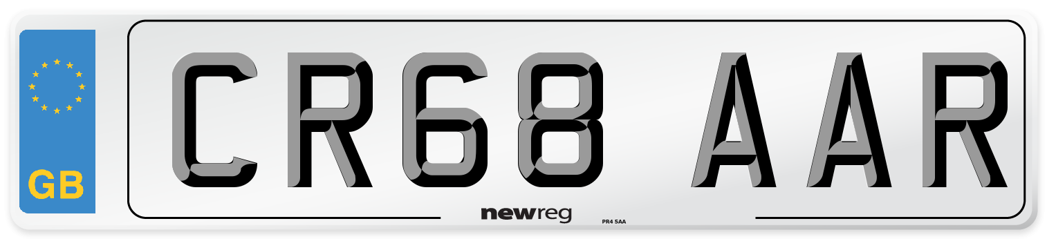 CR68 AAR Number Plate from New Reg