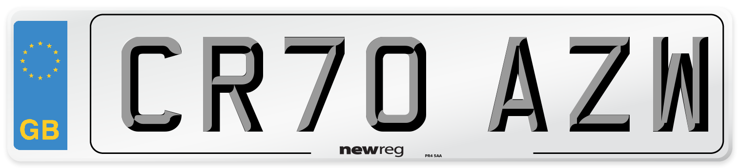 CR70 AZW Number Plate from New Reg