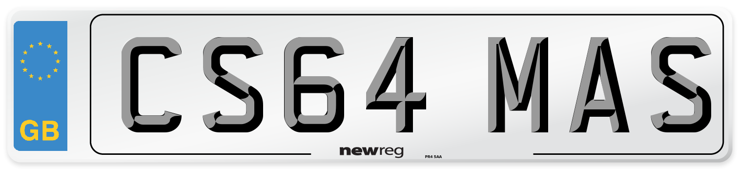 CS64 MAS Number Plate from New Reg