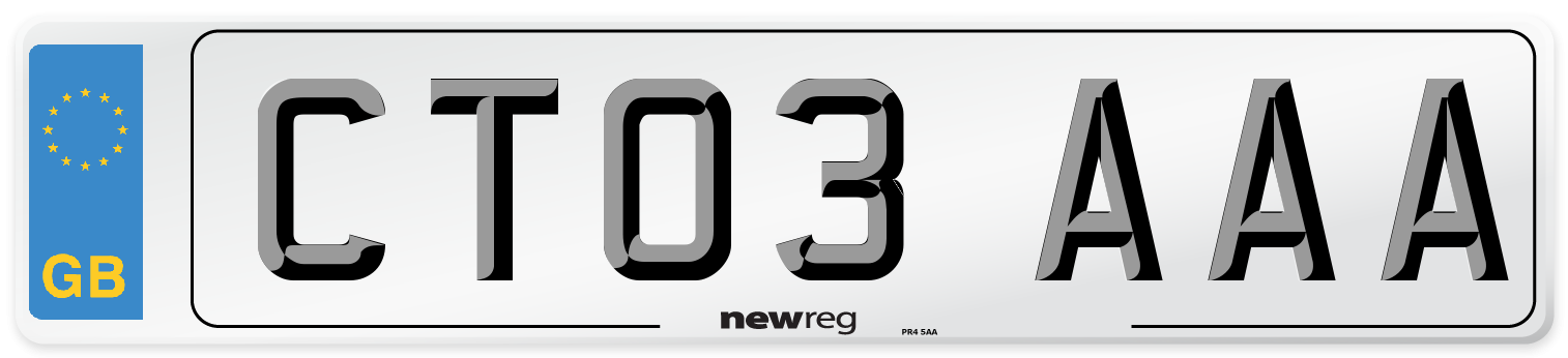 CT03 AAA Number Plate from New Reg