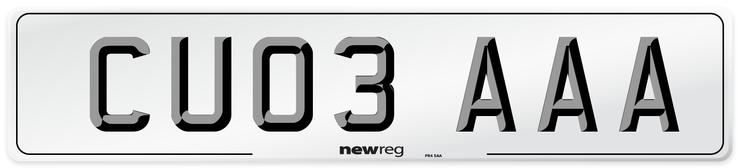CU03 AAA Number Plate from New Reg