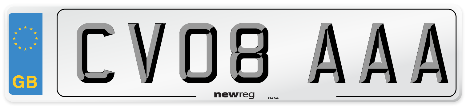 CV08 AAA Number Plate from New Reg