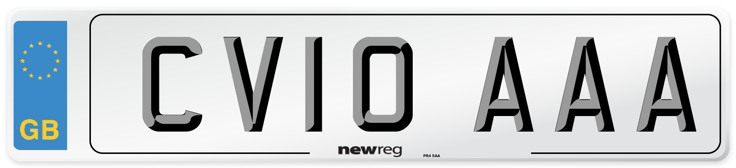 CV10 AAA Number Plate from New Reg