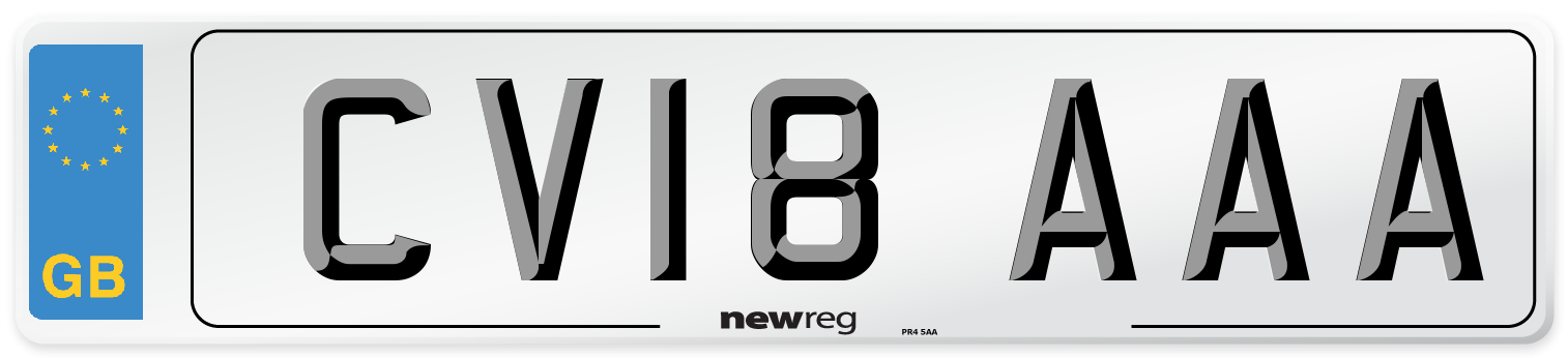 CV18 AAA Number Plate from New Reg