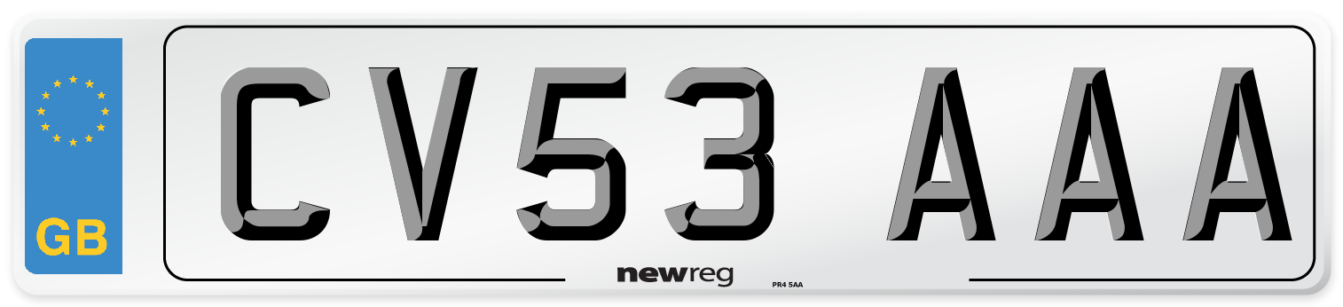 CV53 AAA Number Plate from New Reg