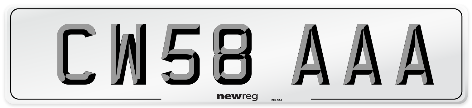 CW58 AAA Number Plate from New Reg
