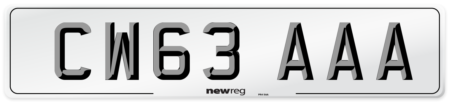 CW63 AAA Number Plate from New Reg