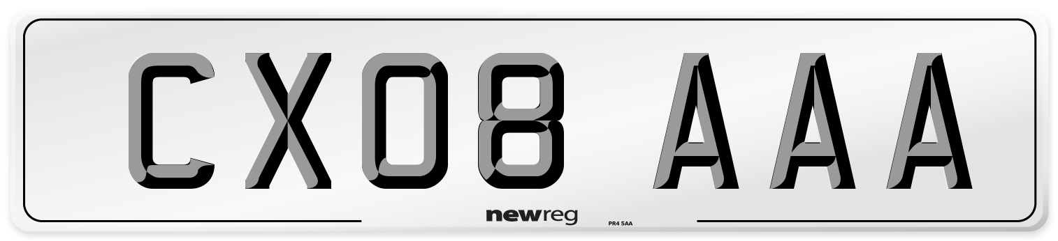 CX08 AAA Number Plate from New Reg
