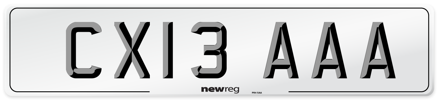CX13 AAA Number Plate from New Reg