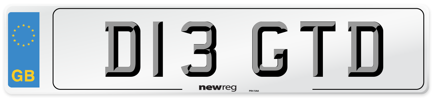 D13 GTD Number Plate from New Reg