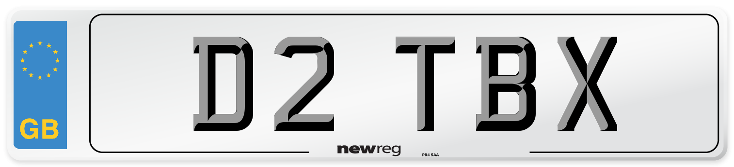 D2 TBX Number Plate from New Reg