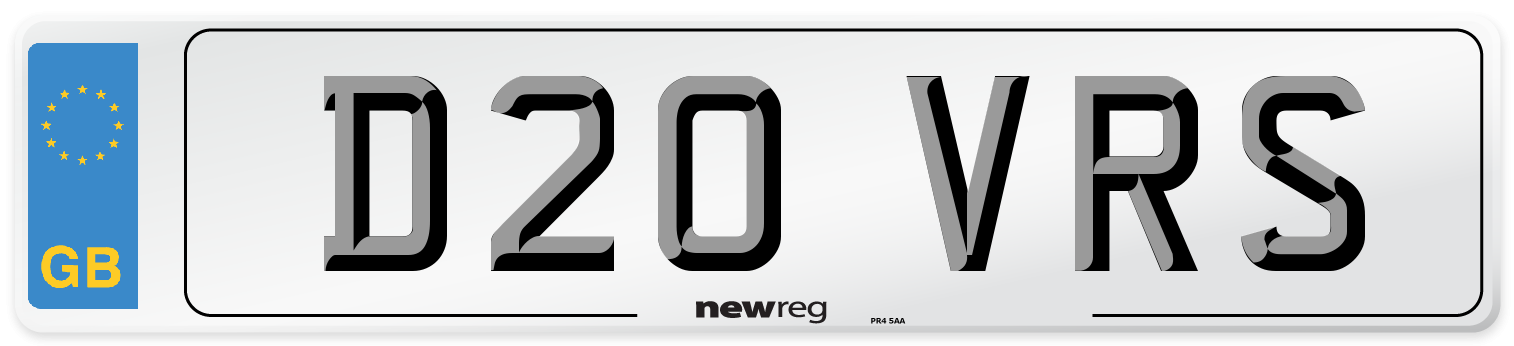 D20 VRS Number Plate from New Reg
