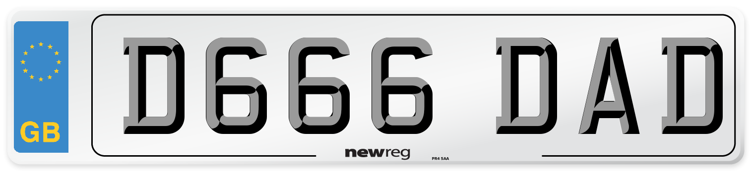 D666 DAD Number Plate from New Reg
