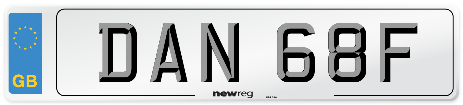 DAN 68F Number Plate from New Reg