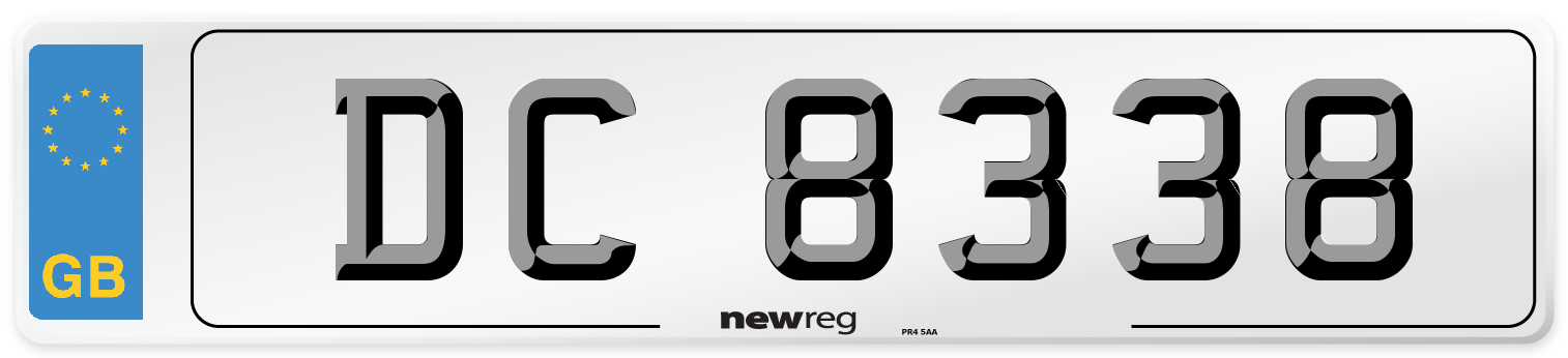 DC 8338 Number Plate from New Reg