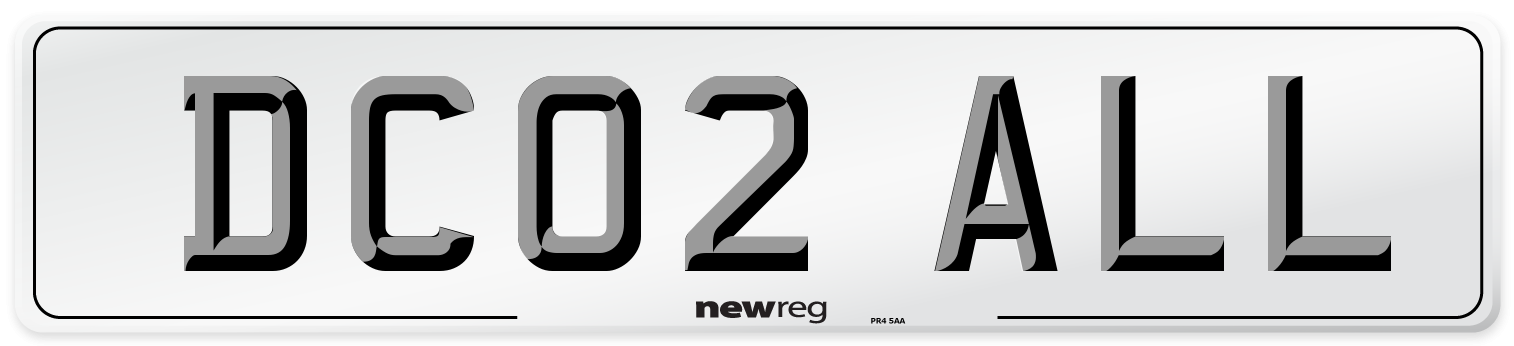 DC02 ALL Number Plate from New Reg
