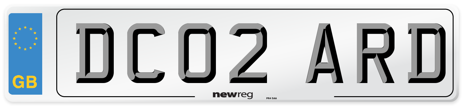 DC02 ARD Number Plate from New Reg