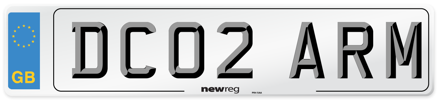 DC02 ARM Number Plate from New Reg