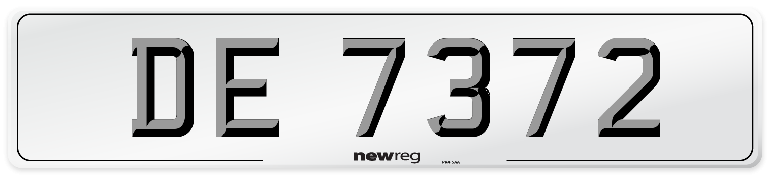 DE 7372 Number Plate from New Reg