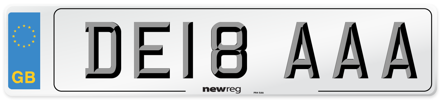 DE18 AAA Number Plate from New Reg
