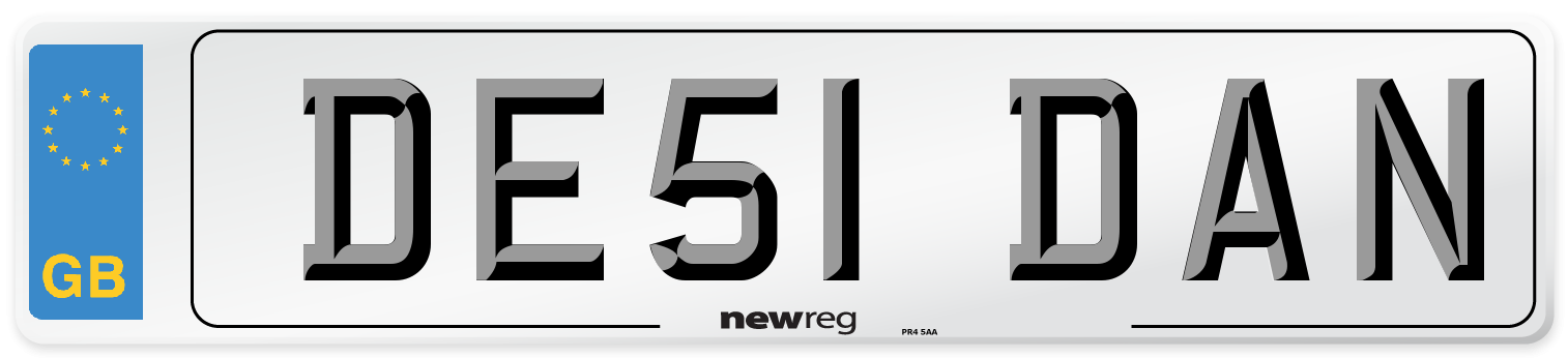 DE51 DAN Number Plate from New Reg
