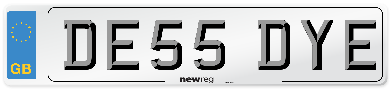 DE55 DYE Number Plate from New Reg