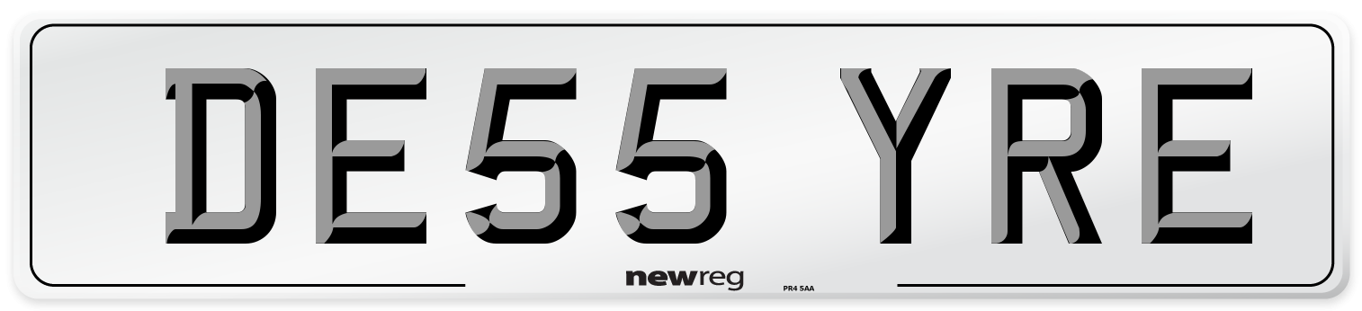 DE55 YRE Number Plate from New Reg