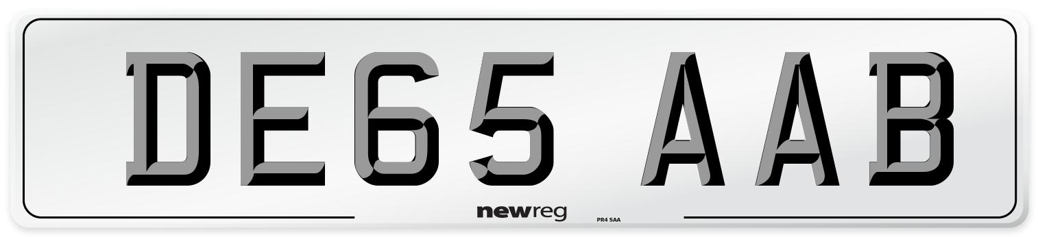 DE65 AAB Number Plate from New Reg