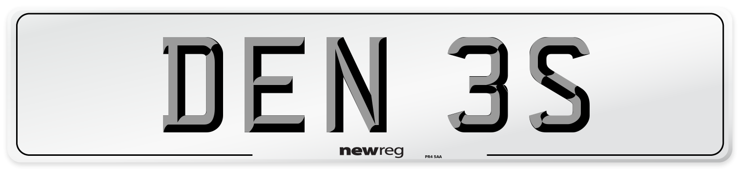 DEN 3S Number Plate from New Reg