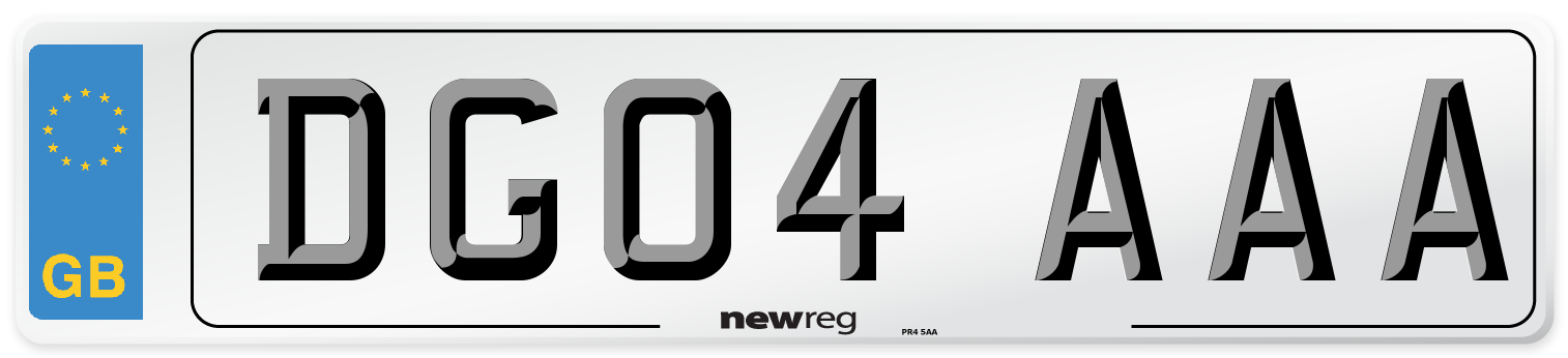 DG04 AAA Number Plate from New Reg