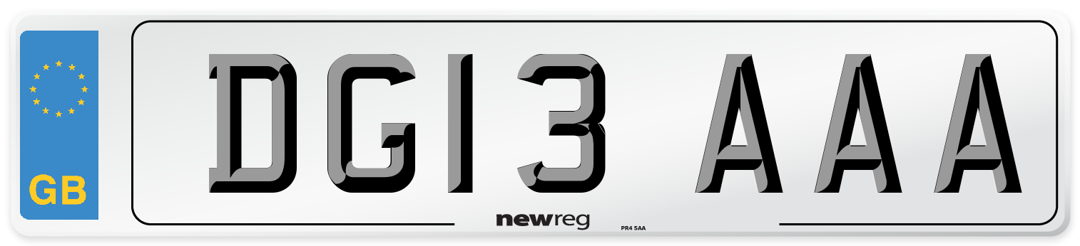 DG13 AAA Number Plate from New Reg