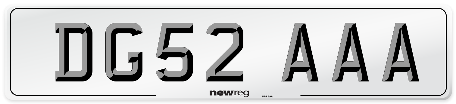 DG52 AAA Number Plate from New Reg