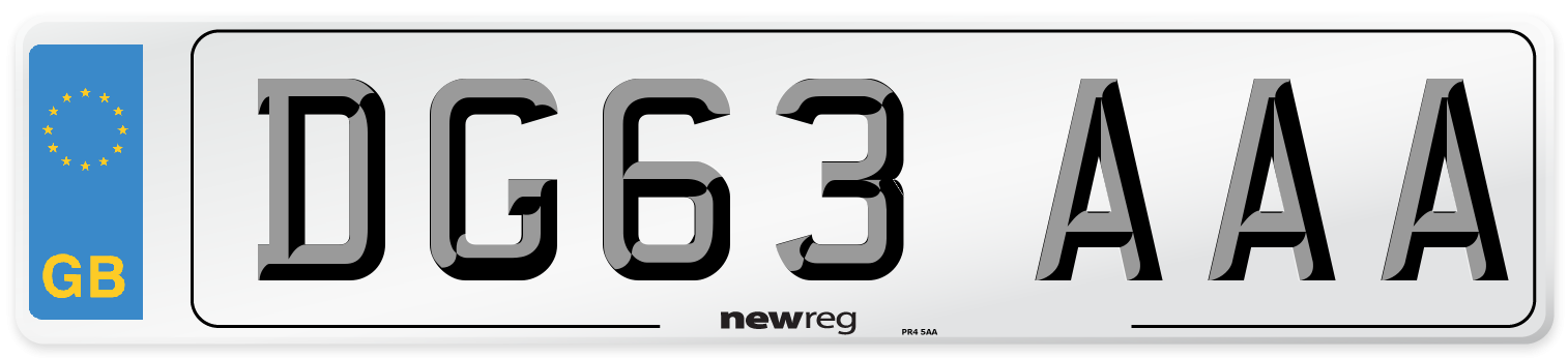 DG63 AAA Number Plate from New Reg