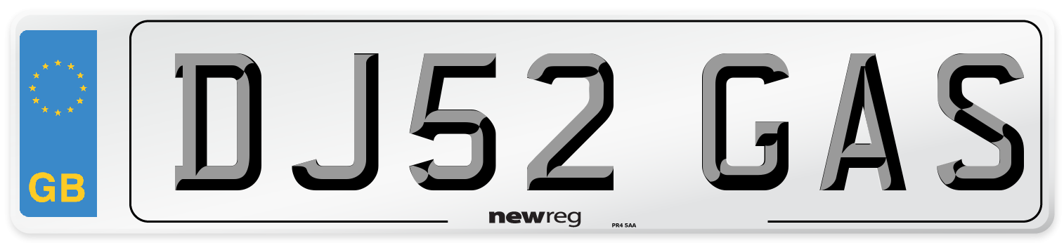 DJ52 GAS Number Plate from New Reg