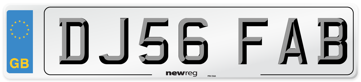 DJ56 FAB Number Plate from New Reg
