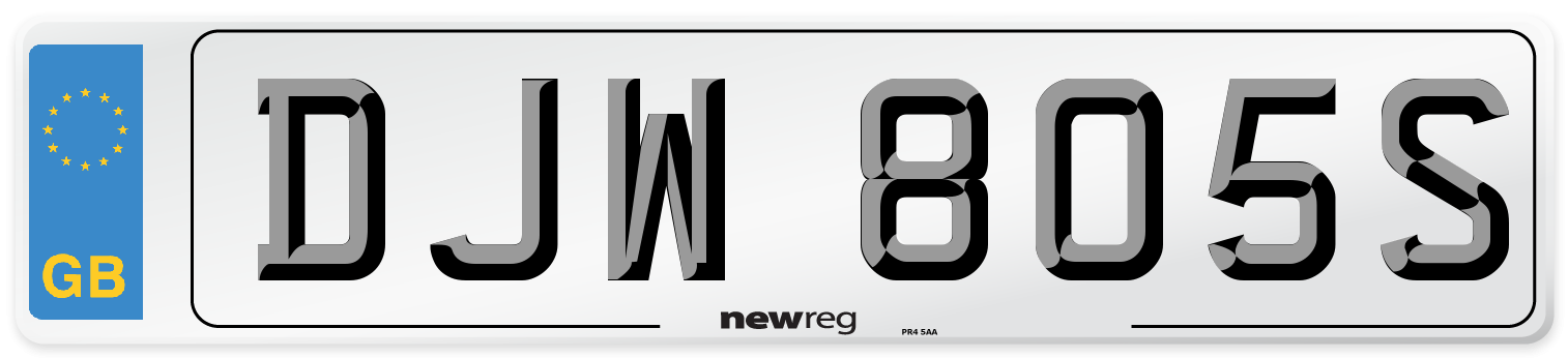 DJW 805S Number Plate from New Reg