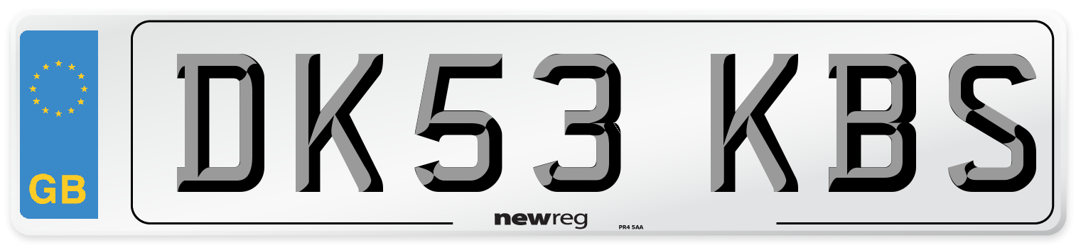 DK53 KBS Number Plate from New Reg