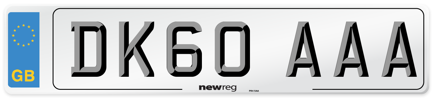 DK60 AAA Number Plate from New Reg