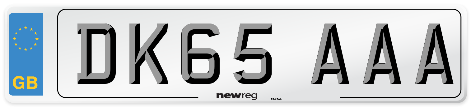 DK65 AAA Number Plate from New Reg