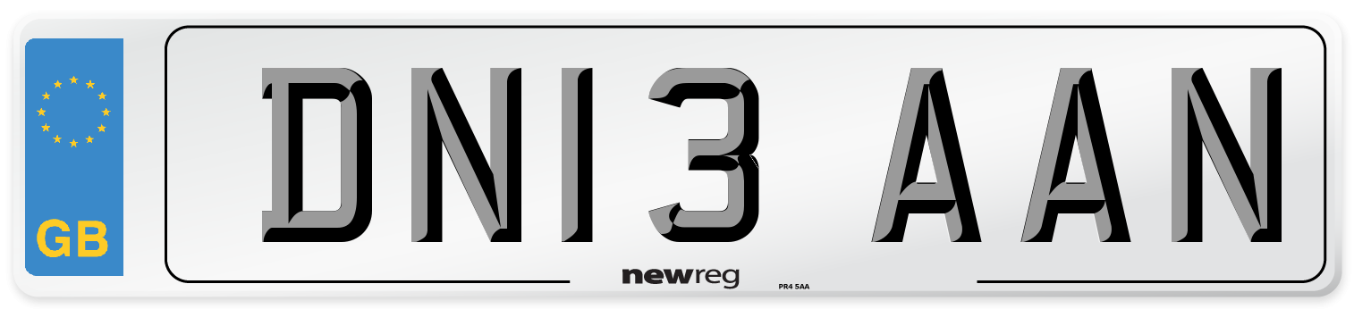 DN13 AAN Number Plate from New Reg