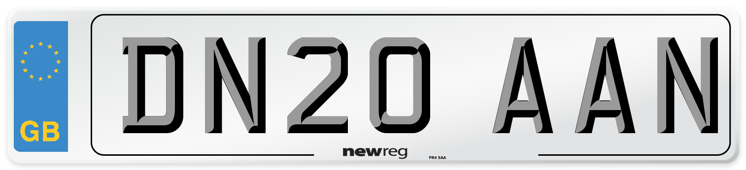 DN20 AAN Number Plate from New Reg