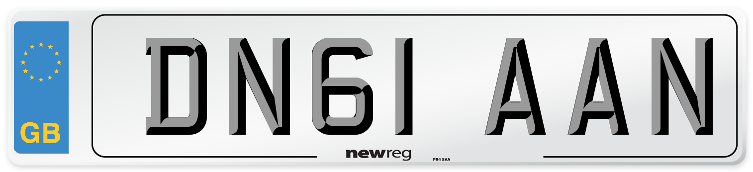 DN61 AAN Number Plate from New Reg